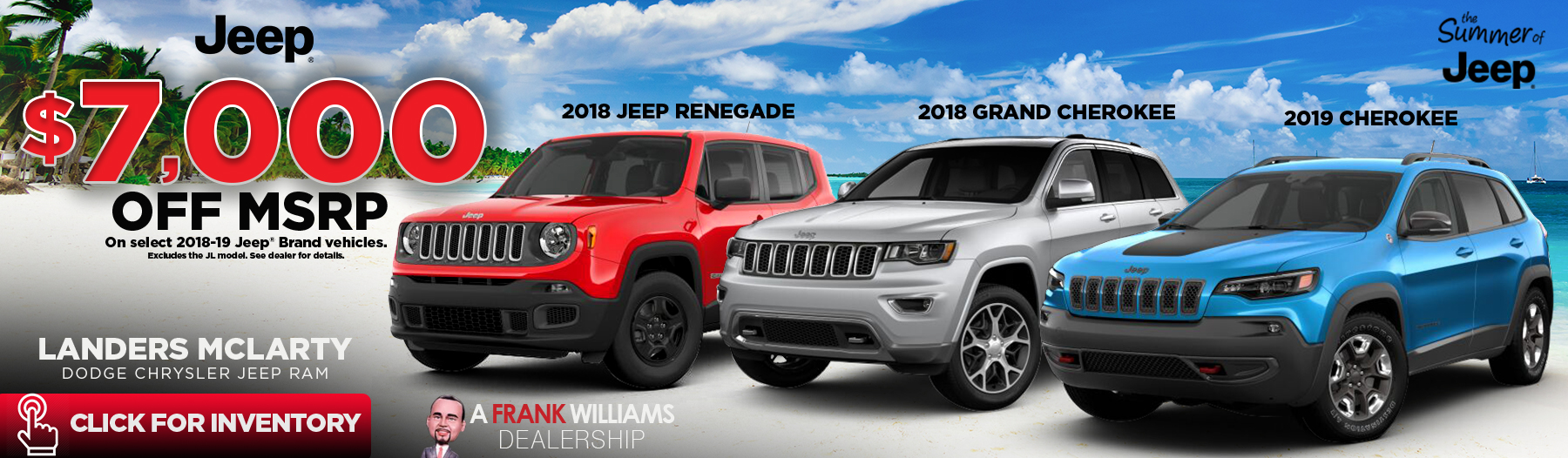 $6500 off 2018 Jeep Grand Cherokee, Cherokee or Renegade