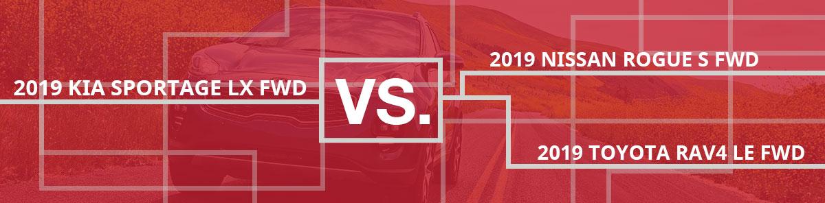 Compare Kia Sportage vs Nissan Rogue and Toyota Rav4